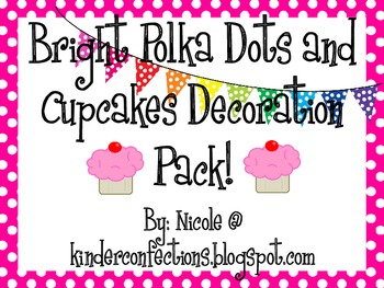 Bright Polka Dots and Cupcakes Decoration Pack