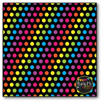 Bright Polka Dots on BLACK Digital Papers {Commercial Use Digital Graphics}