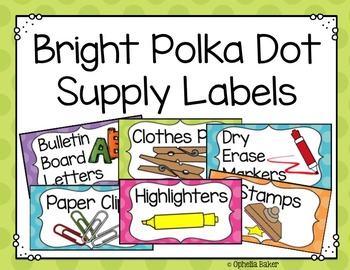 Bright Polkadot Supply Labels ((EDITABLE))
