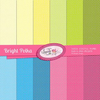 Bright Polkas Digital Papers