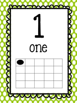 Bright Primary Polka Dot Number Posters 1-20