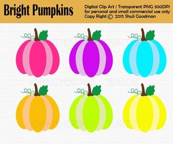 Bright Pumpkins clip art