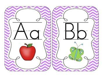 Bright Purple Chevron Alphabet Cards