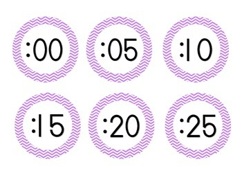 Bright Purple Chevron Clock Numbers