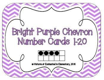 Bright Purple Chevron Number Cards 1-20