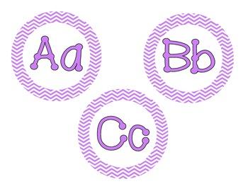 Bright Purple Chevron Word Wall Cards