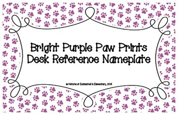 Bright Purple Paw Prints Desk Reference Nameplates