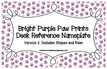 Bright Purple Paw Prints Desk Reference Nameplates Version 2