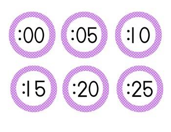 Bright Purple Polka Dot Clock Numbers
