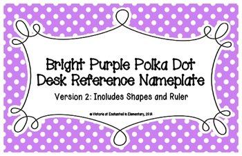 Bright Purple Polka Dot Desk Reference Nameplates Version 2