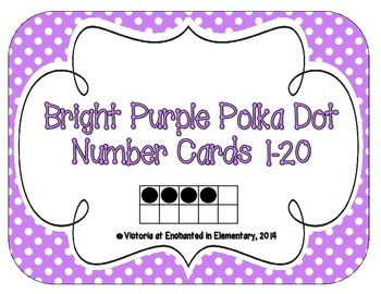 Bright Purple Polka Dot Number Cards 1-20