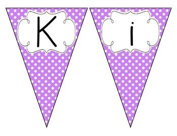 Bright Purple Polka Dot Welcome Pennant