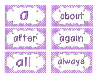 Bright Purple Polka Dot Word Wall Cards