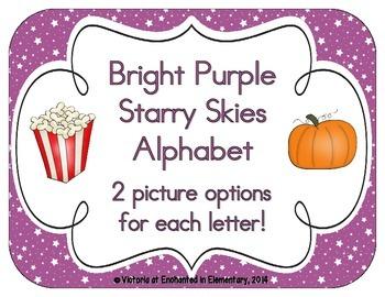 Bright Purple Starry Skies Alphabet Cards