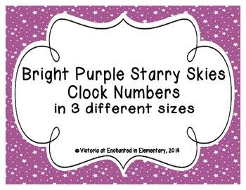 Bright Purple Starry Skies Clock Numbers