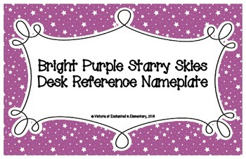 Bright Purple Starry Skies Desk Reference Nameplates