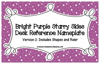 Bright Purple Starry Skies Desk Reference Nameplates Version 2