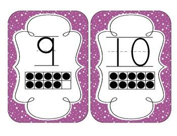 Bright Purple Starry Skies Number Cards 1-20