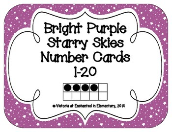 Bright Purple Starry Skies Number Cards 1-20