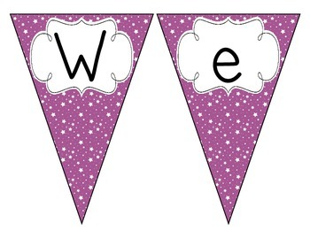 Bright Purple Starry Skies Welcome Pennant