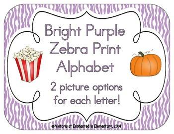 Bright Purple Zebra Print Alphabet Cards