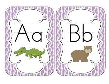 Bright Purple Zebra Print Alphabet Cards