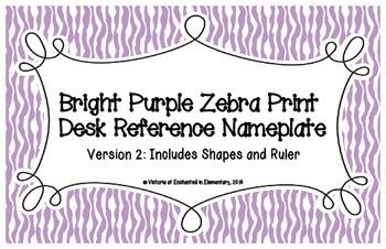 Bright Purple Zebra Print Desk Reference Nameplates Version 2