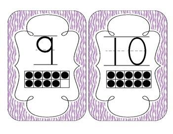 Bright Purple Zebra Print Number Cards 1-20