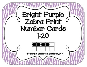 Bright Purple Zebra Print Number Cards 1-20