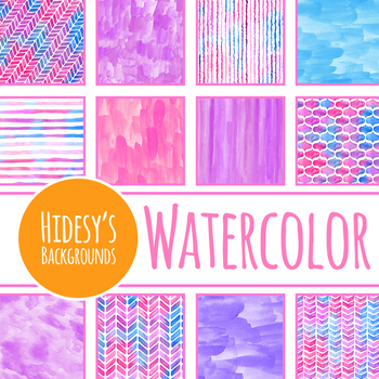 Bright Purple and Pink Handpainted Watercolor Backgrounds / Digital Papers