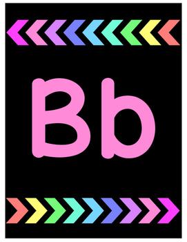 Bright Rainbow Arrows Alphabet Poster Set
