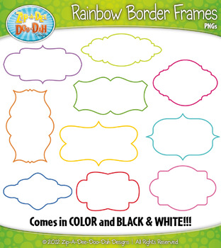 Rainbow Border Frames Clipart {Zip-A-Dee-Doo-Dah Designs}