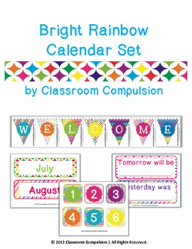 Bright Rainbow Calendar Set with Welcome Banner