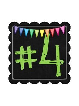 Bright Rainbow Chalkboard Station Numbers