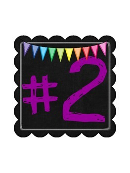 Bright Rainbow Chalkboard Station Numbers