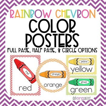 Bright Rainbow Chevron Color Posters