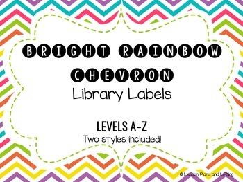 Bright Rainbow Chevron Library Labels