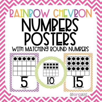 Bright Rainbow Chevron Number Posters 0-20
