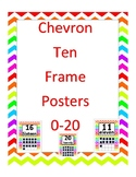 Bright Rainbow Chevron Ten Frame Number posters 0-20