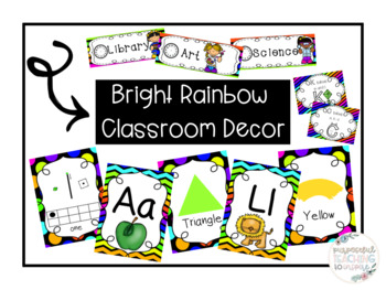 Bright Rainbow Classroom Decor *Growing* Bundle