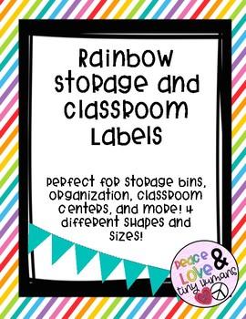 Bright Rainbow Classroom Labels