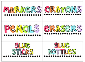 Bright Rainbow Classroom Supply Labels