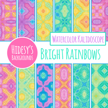 Bright Rainbow Colors Watercolor Digital Papers / Backgrounds Clip Art Set