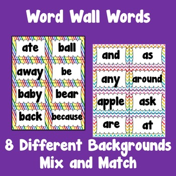 Editable Sight Word Wall Cards ~ over 300 words included
