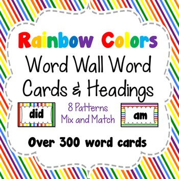 Bright Rainbow Colors Word Wall Word Cards