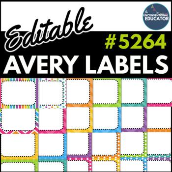 "Bright Rainbow Editable Avery Labels- #5264 (3 1/3"" x 4"")"