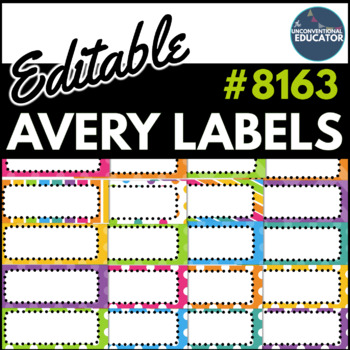 "Bright Rainbow Editable Avery Labels- #8163 (2"" x 4"")"