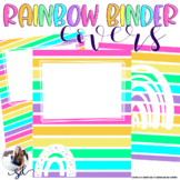 Bright Rainbow Editable Binder Covers