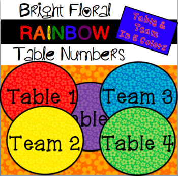 Bright Rainbow Floral Table/ Team Numbers