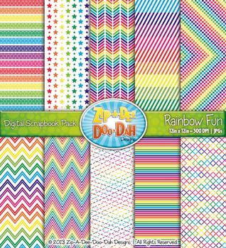 Bright Rainbow Fun Digital Scrapbook Pack {Zip-A-Dee-Doo-Dah Designs}